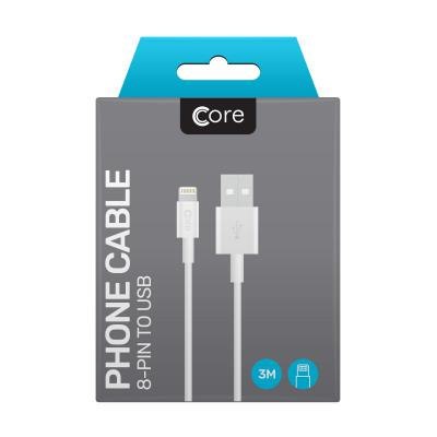 Core 8-Pin to USB Cable 3M White 1A