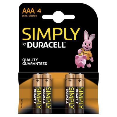 Duracell Simply AAA Batteries 4 Pack